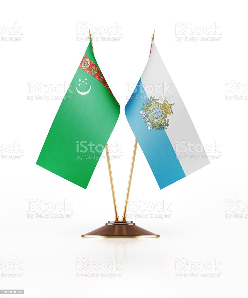 Miniature Flag of Turkmenistan and San Marino stock photo