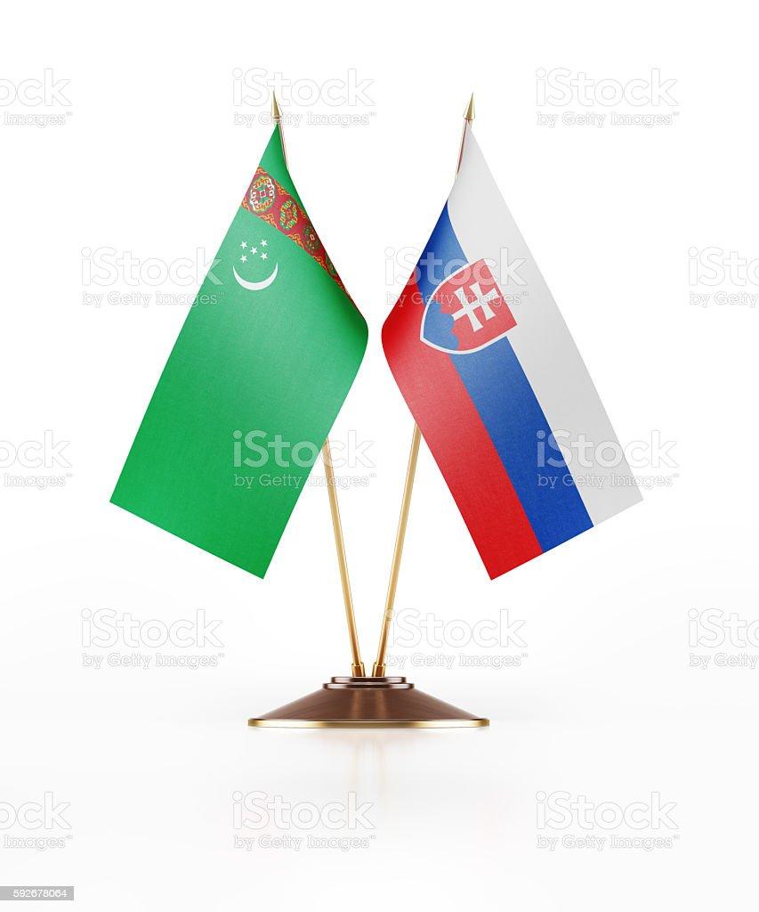 Miniature Flag of Turkmenistan and Slovakia stock photo