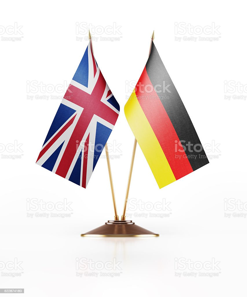 Miniature Flag of United Kingdom and Germany stock photo