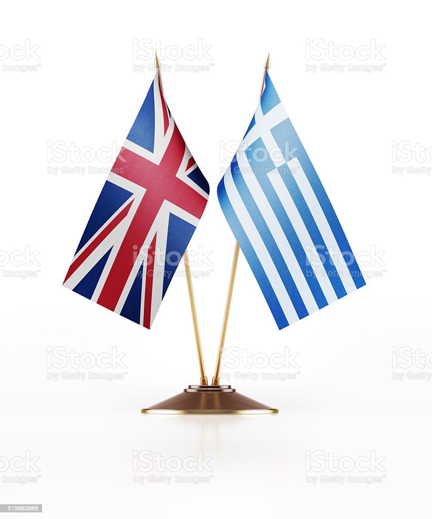 Miniature Flag of United Kingdom and Greece stock photo