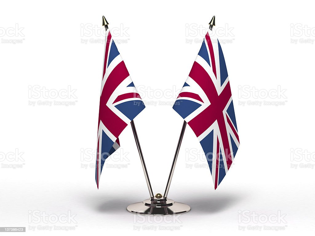 Miniature Flag of United Kingdom (Isolated) stock photo