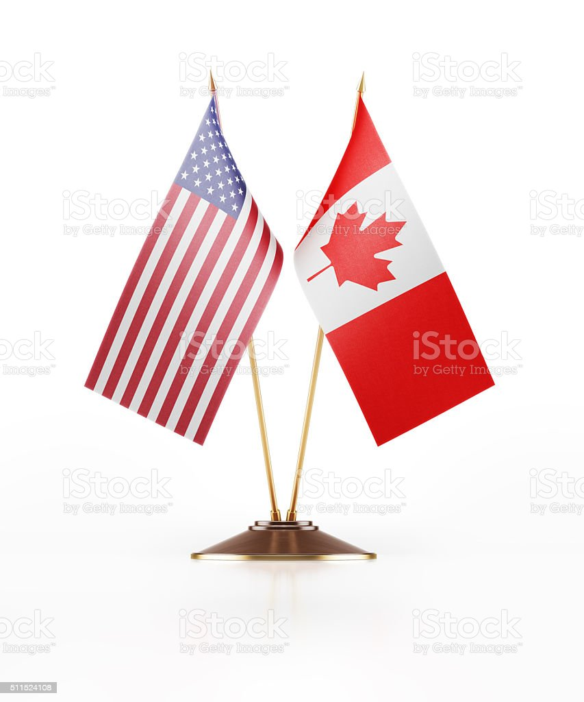 Miniature Flag of United States of America and  Canada stock photo