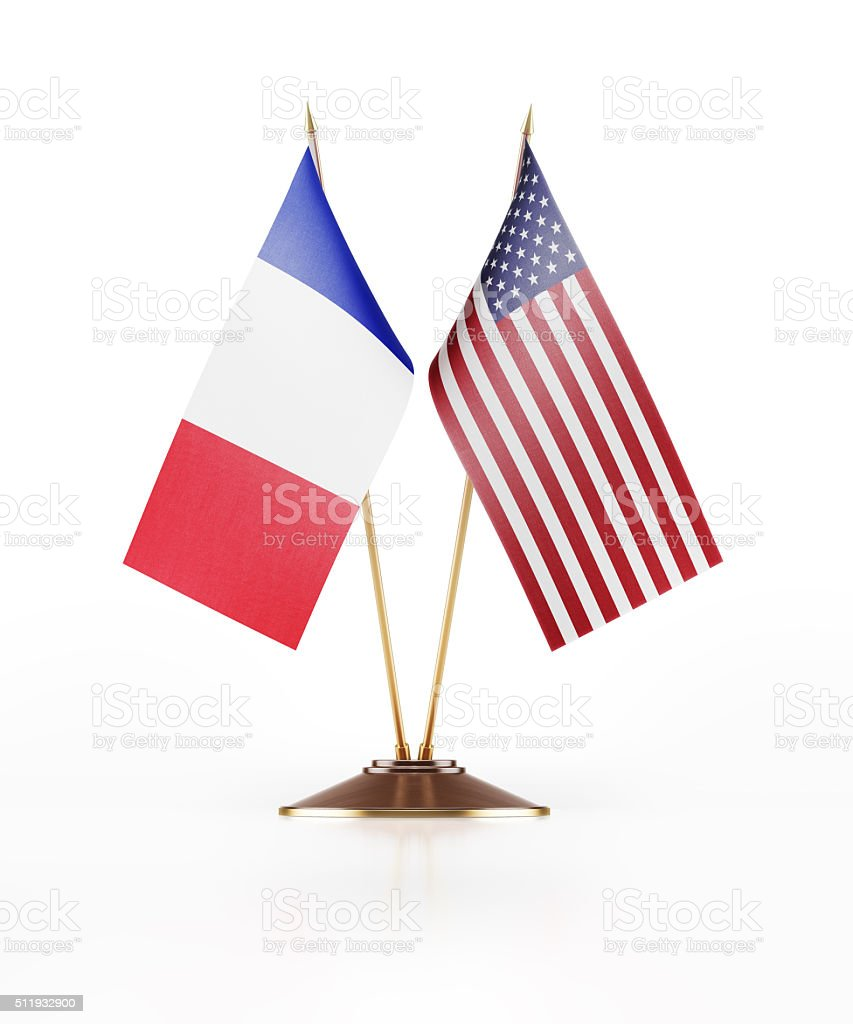 Miniature Flag of United States of America and  France stock photo