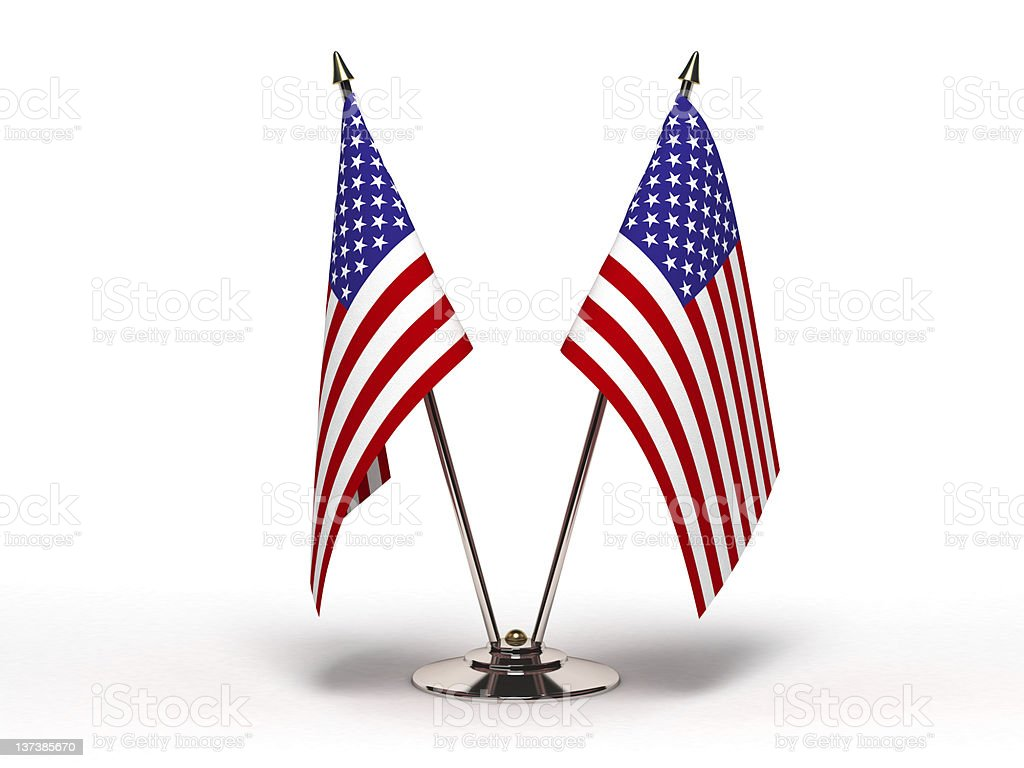Miniature Flag of USA (Isolated) stock photo