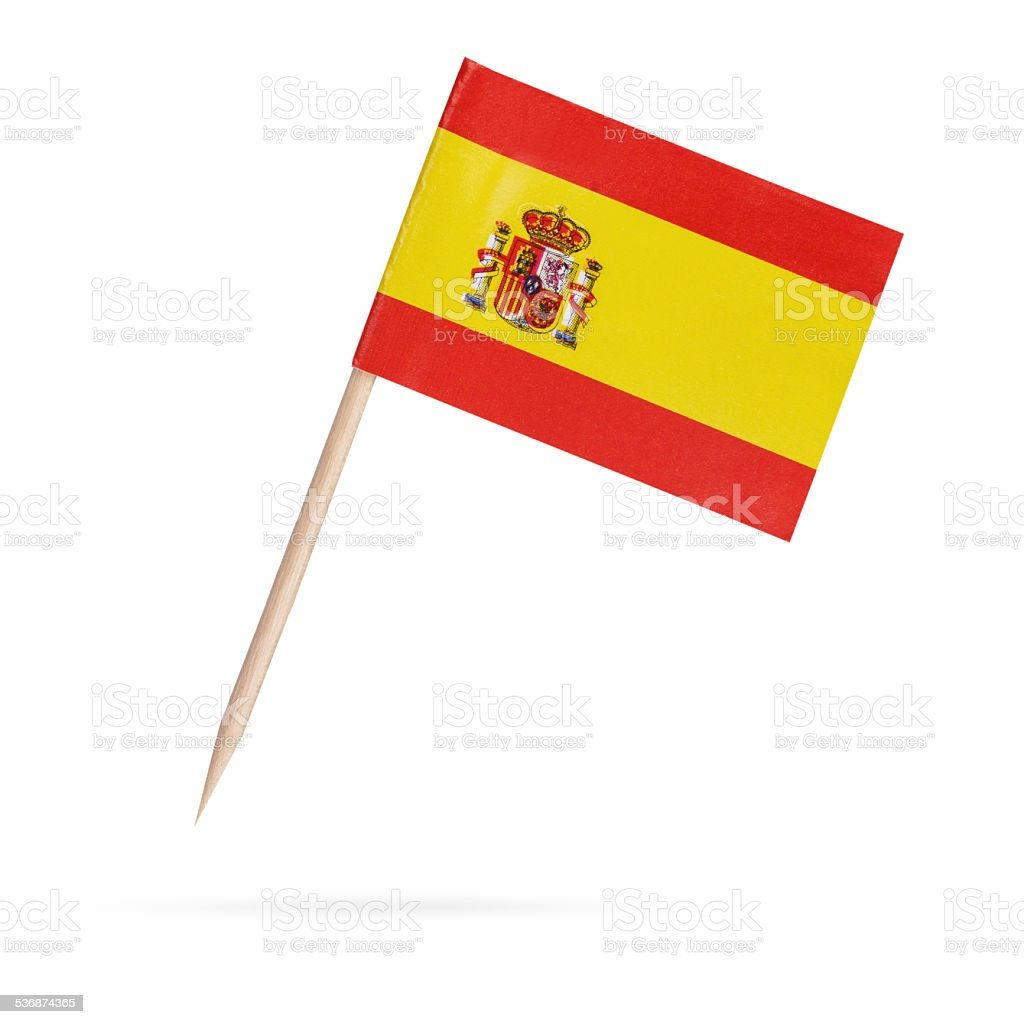 Miniature Flag Spain.Isolated on white background stock photo