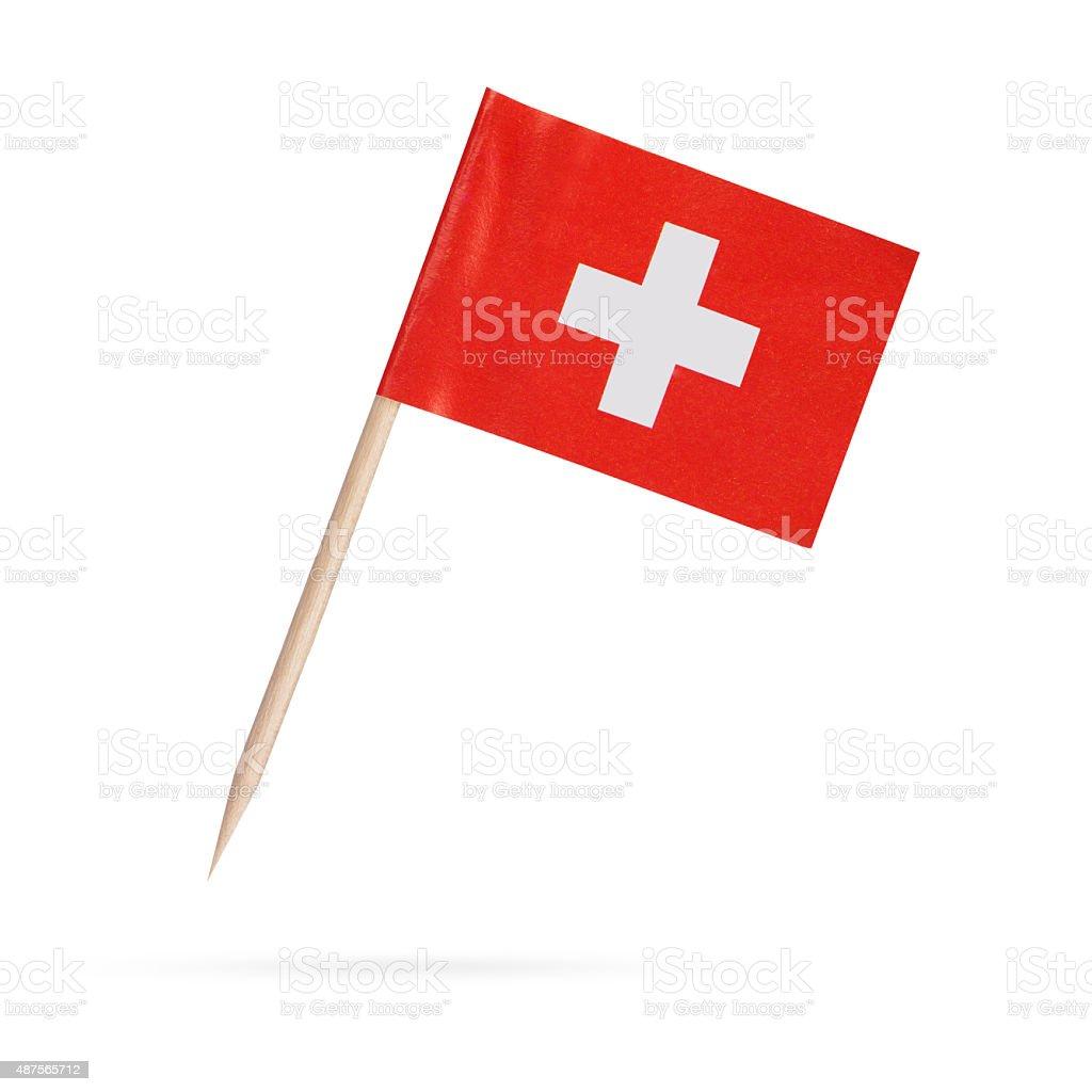 Miniature Flag Switzerland. Isolated on white background stock photo