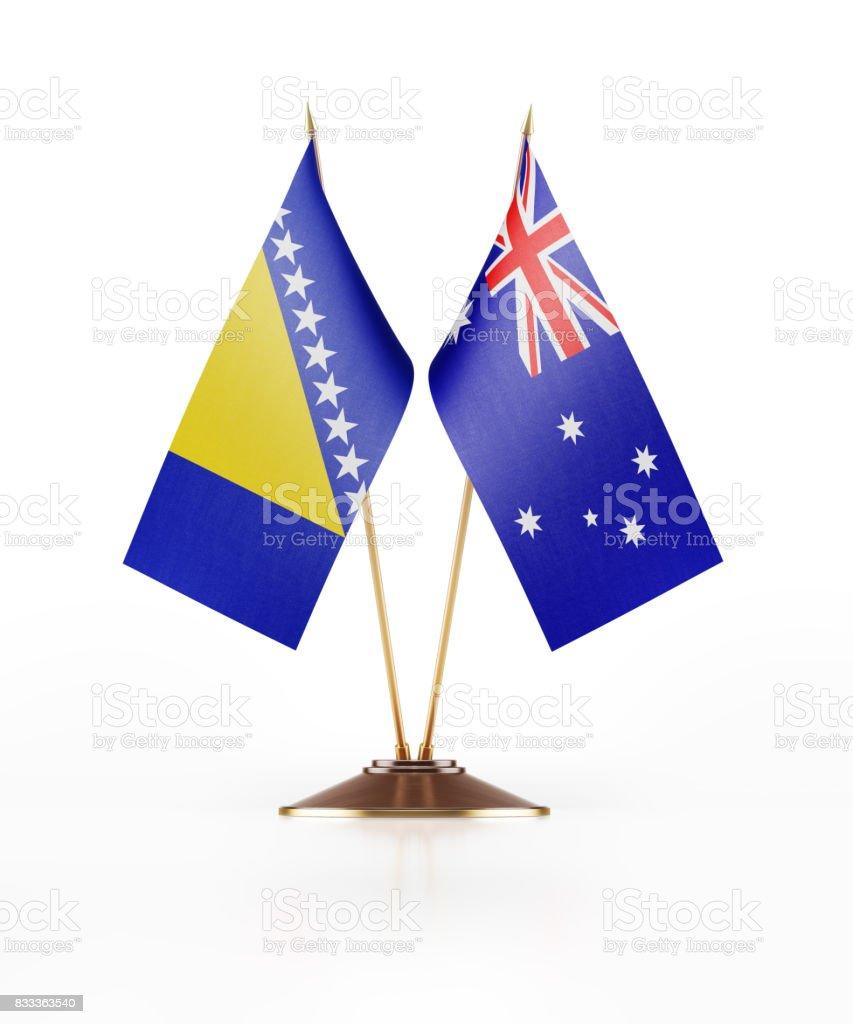 Miniature Flags of Australia and Bosnia Herzegovina stock photo