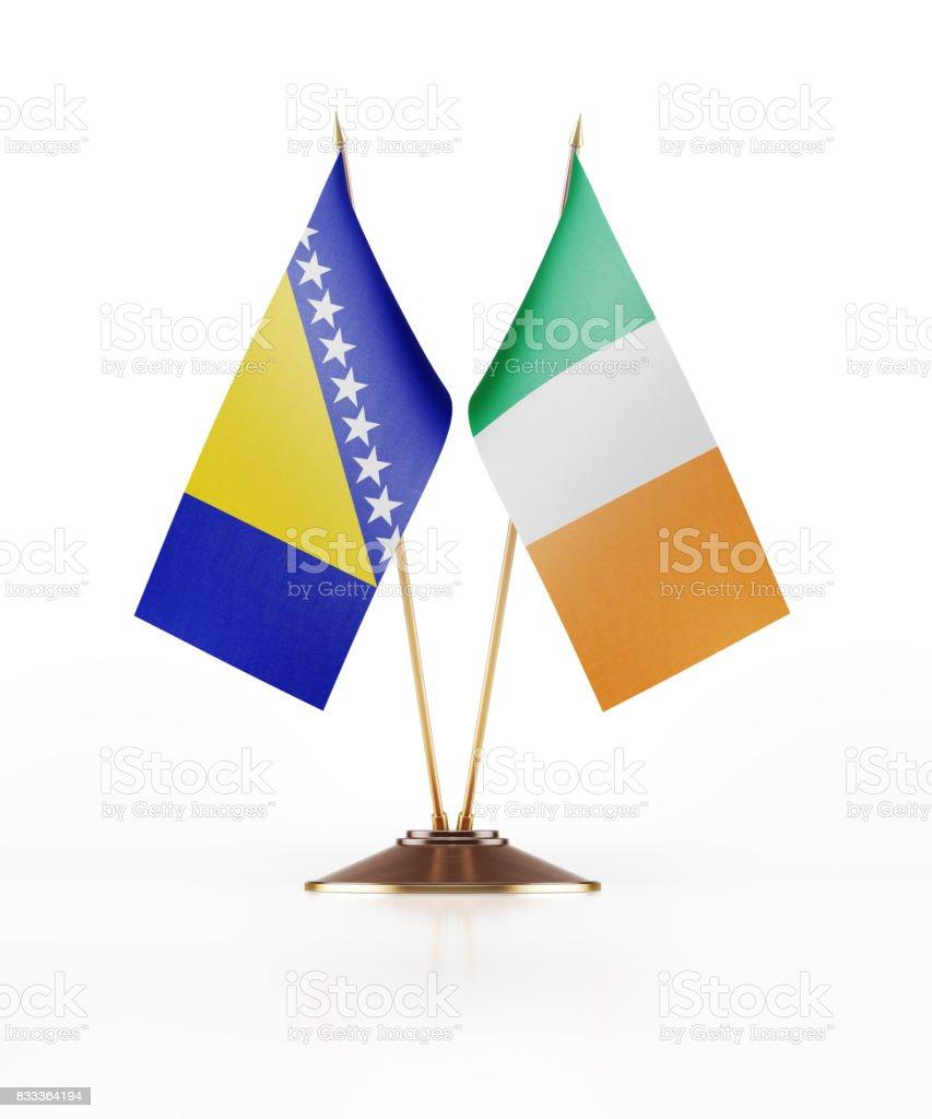 Miniature Flags of Ireland and Bosnia Herzegovina stock photo