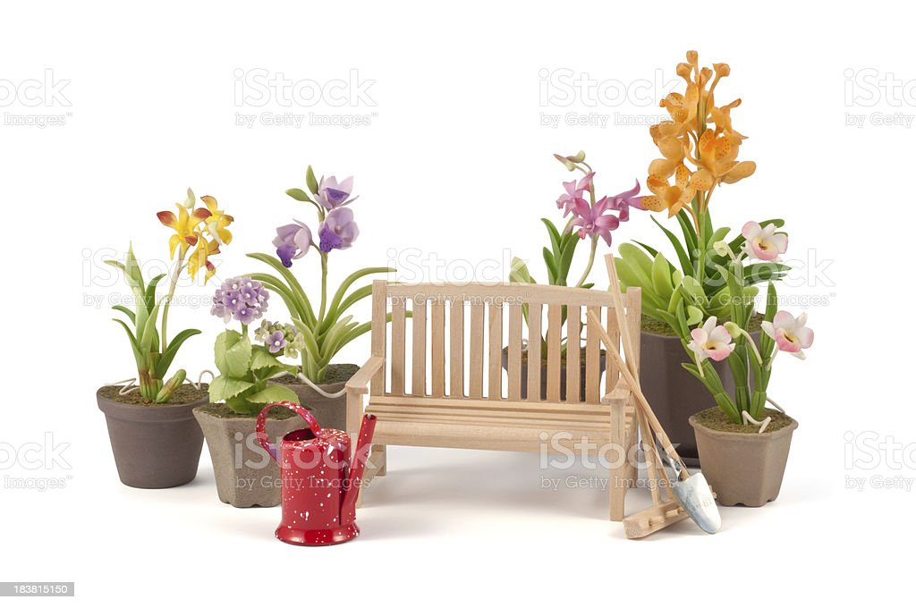 miniature garden and tools royalty-free stock photo