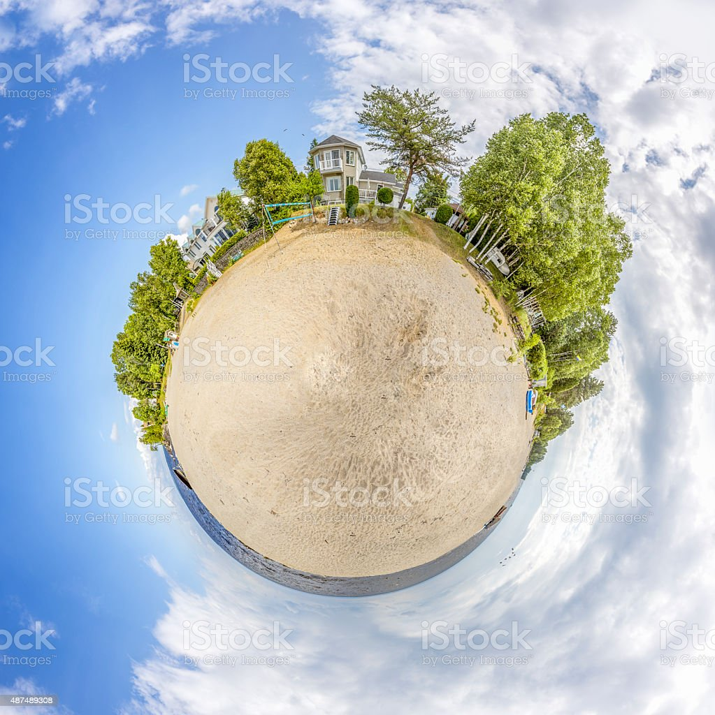 Miniature globe showing Lac St-Jean in Canada stock photo