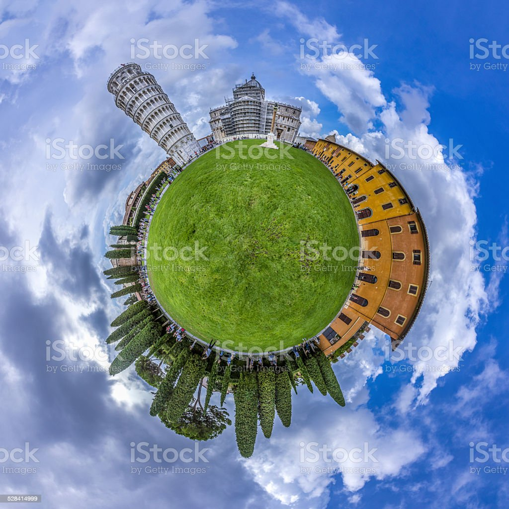 Miniature globe showing leaning tower and piazza del miracoli , Italy stock photo