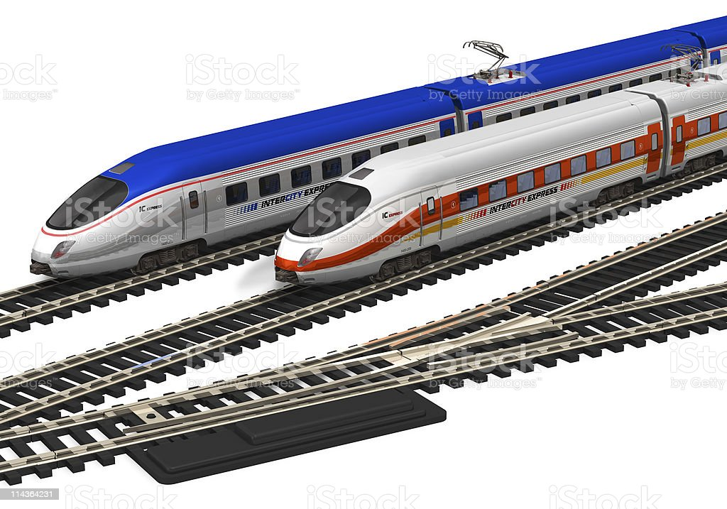Miniature high speed trains royalty-free stock photo