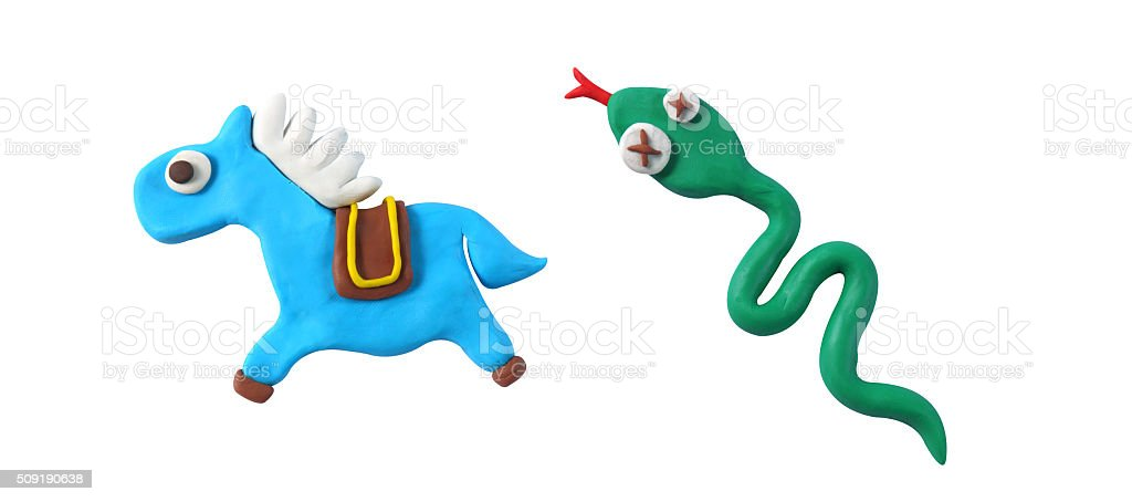 miniature horse and snake model from japanese clay stock photo