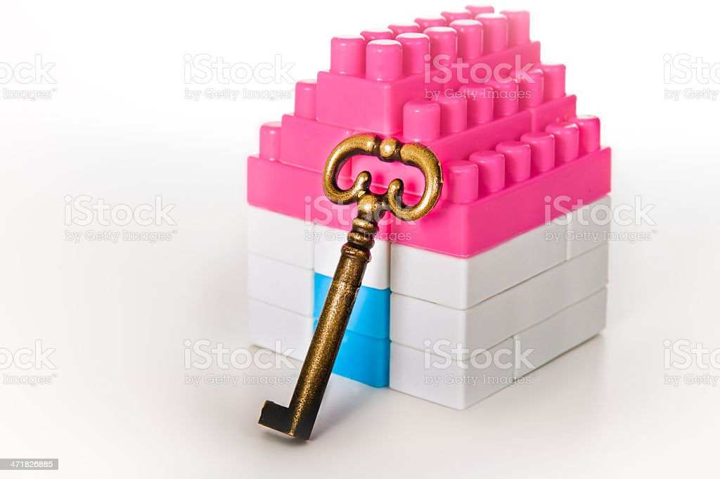Miniature House with Key royalty-free stock photo