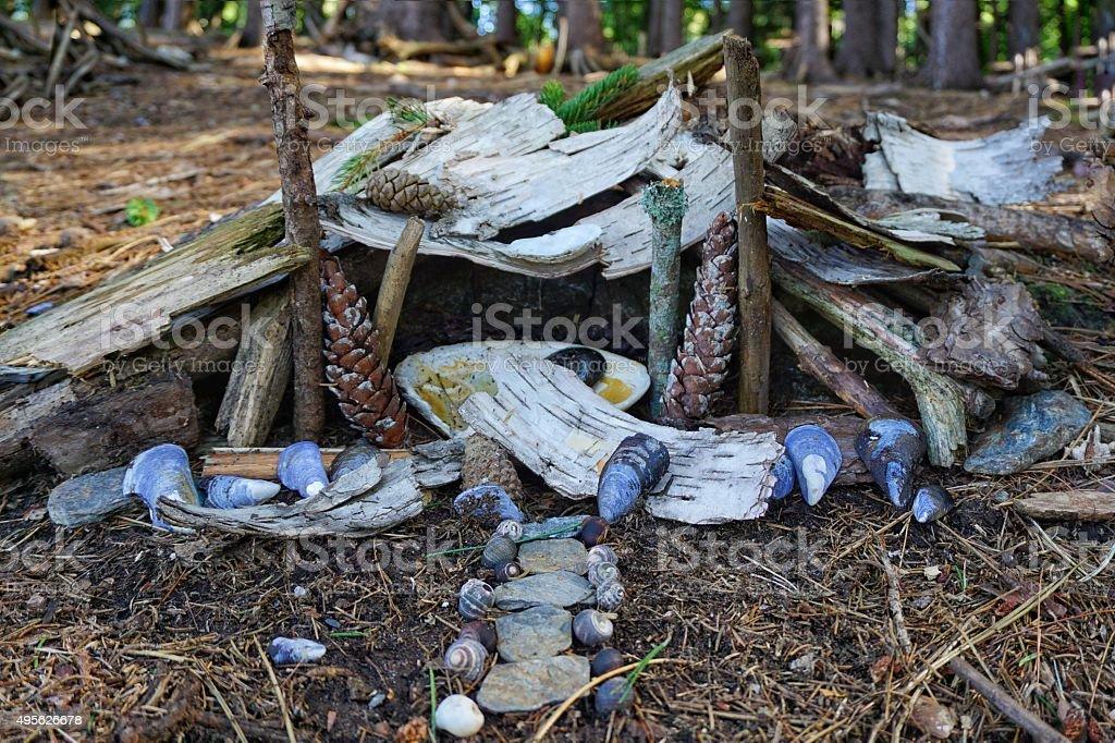 Miniature Magical Permanant Forest Fairy Houses Village, Mackworth Island, Maine stock photo