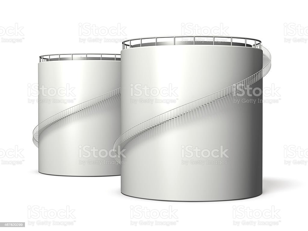 Miniature model of oil tank stock photo