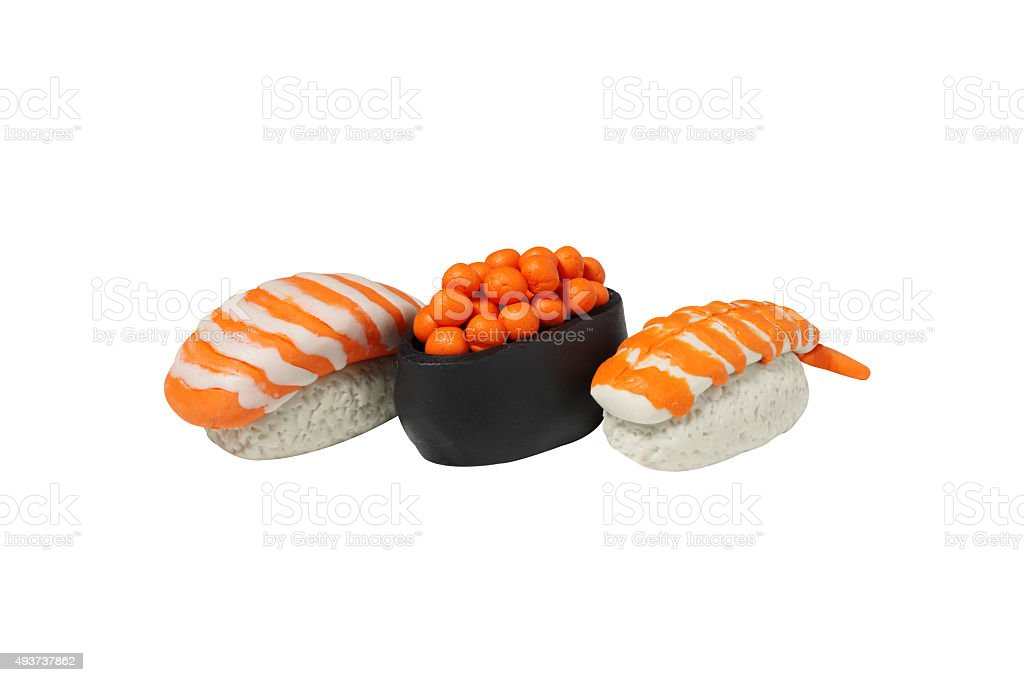 miniature sushi model from japanese clay stock photo