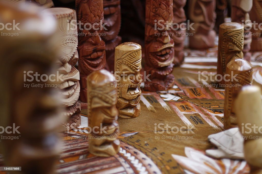 Miniature tiki's on display royalty-free stock photo