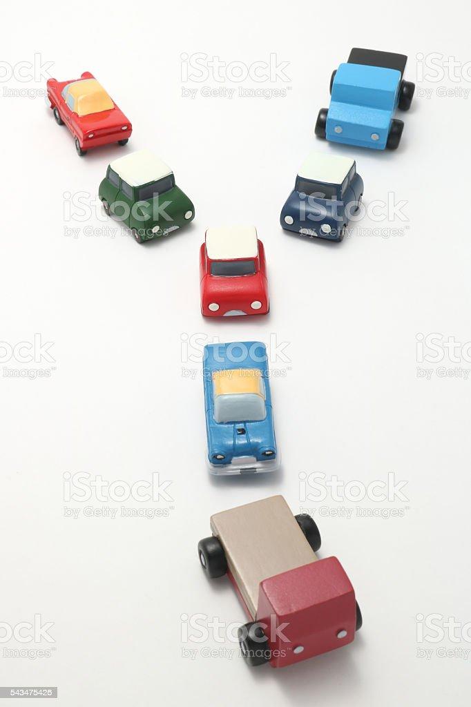 Miniature toy cars on white background. stock photo