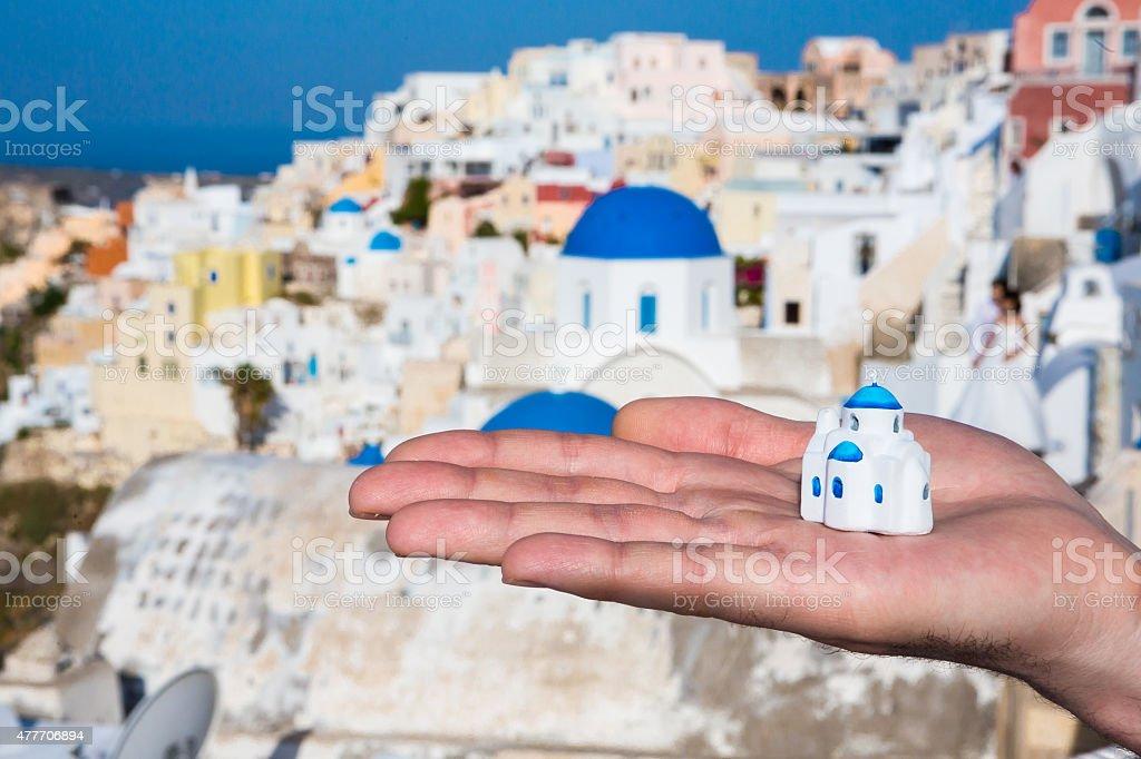 miniature traditional Greek Church stock photo