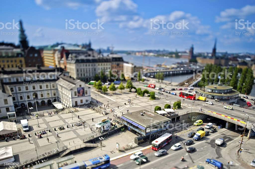 Miniature traffic in Stockholm stock photo