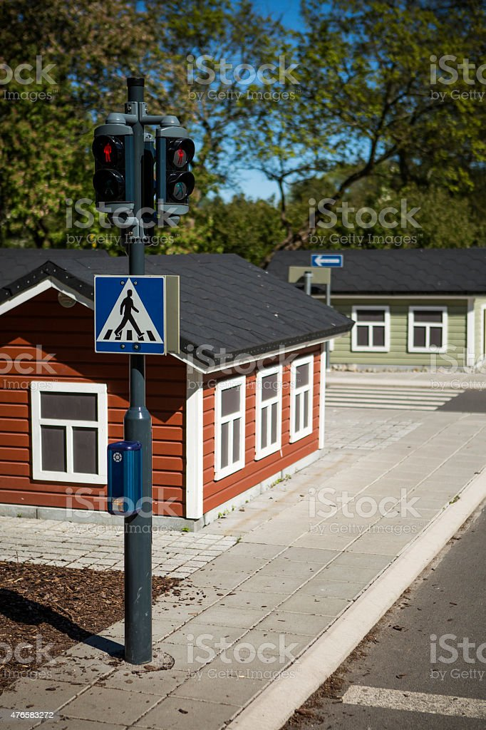 Miniature traffic lights stock photo