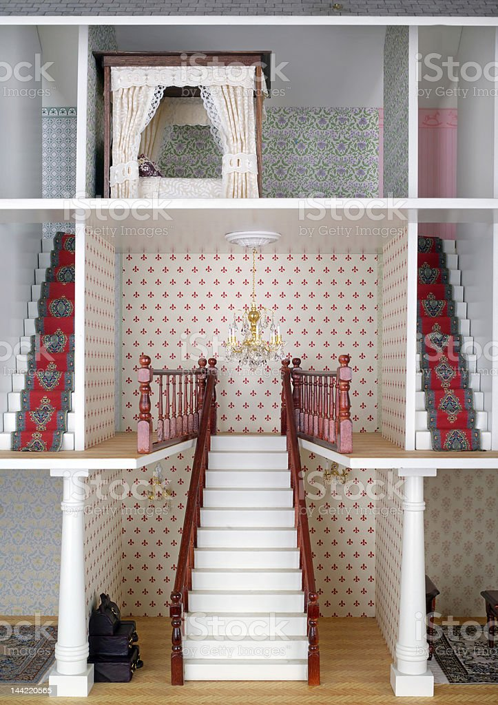 Miniature world, adult dolls house staircase stock photo