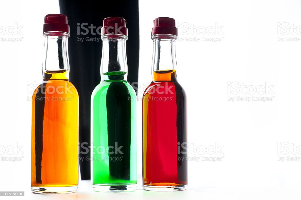 MiniBar bottles with alcohol stock photo