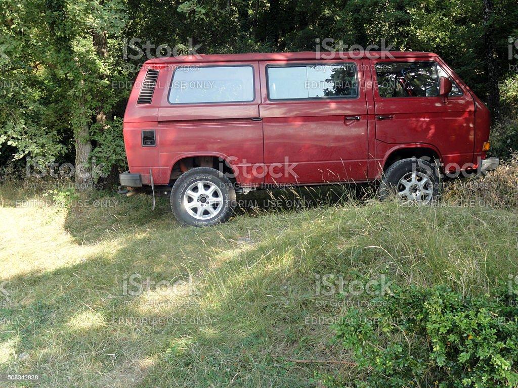 Minibus Volkswagen Type 2 in Nature stock photo