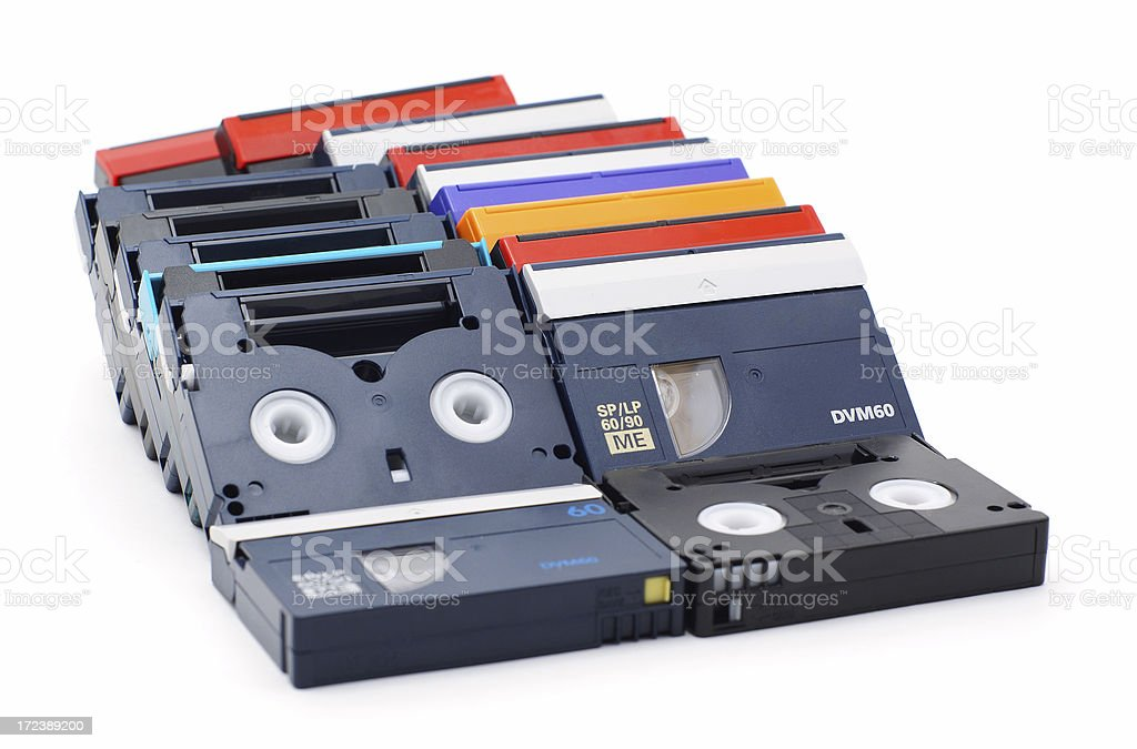 MiniDV cassettes isolated stock photo