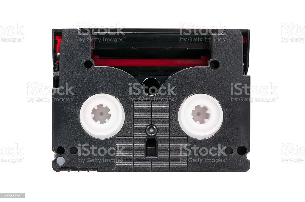 MiniDV video cassette on white background stock photo
