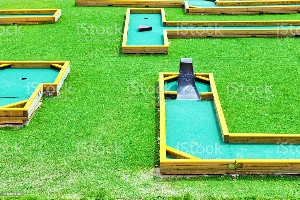 Mini-Golf field in summer day. stock photo