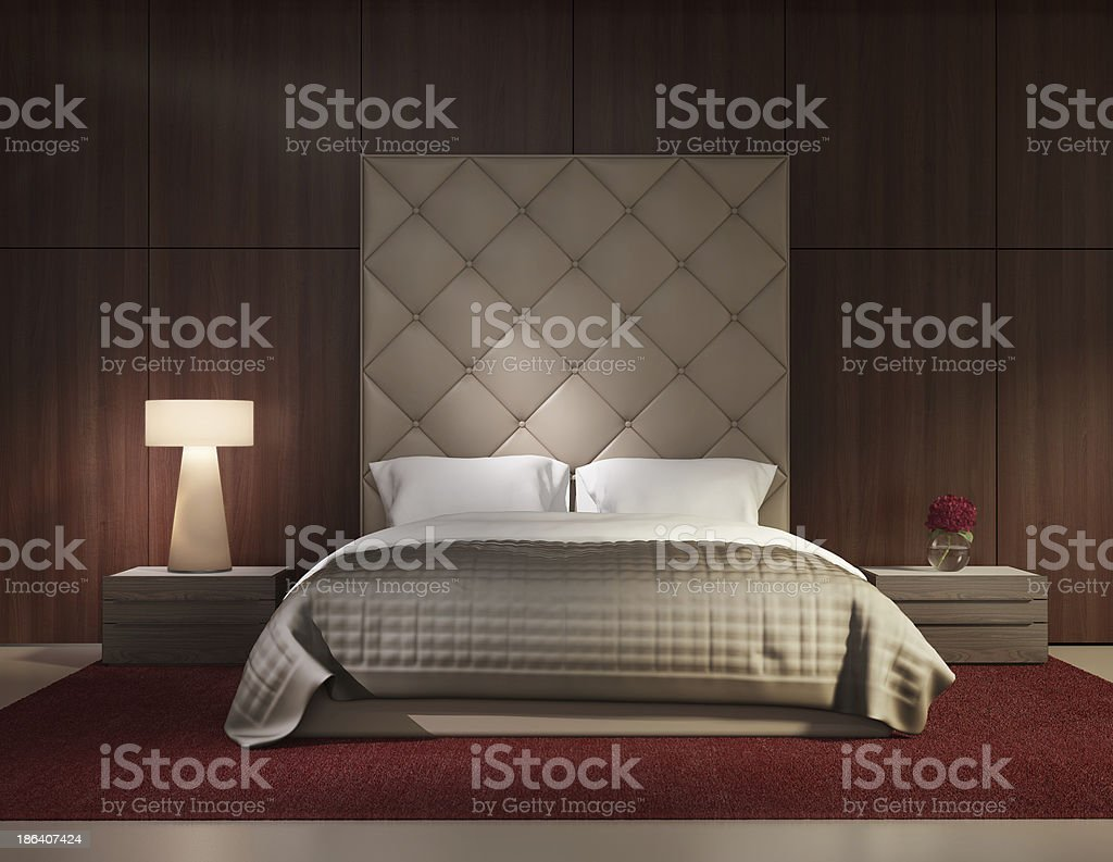 Minimal contemporary bedroom luxury interior stock photo