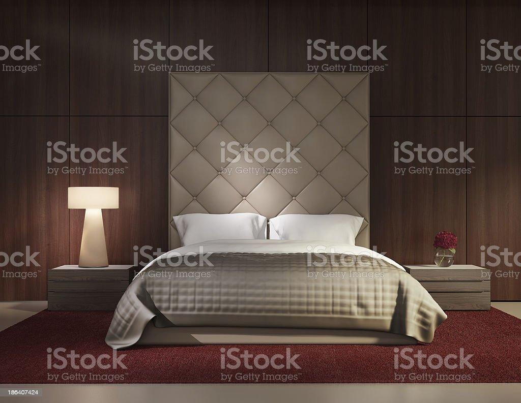 Minimal contemporary bedroom luxury interior stock photo