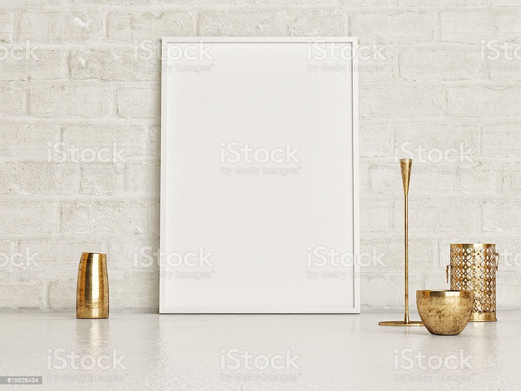 Minimalism, mock up poster stock photo