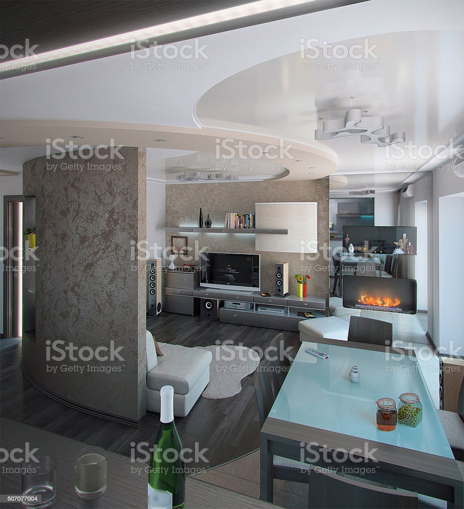 Minimalism sitting room, 3D render stock photo