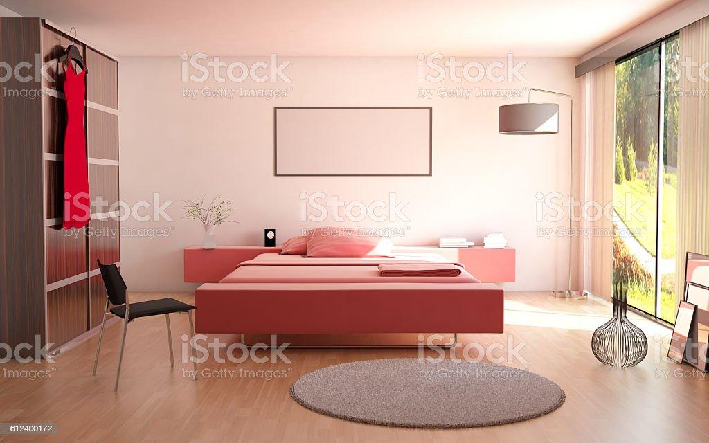 Minimalist Bedroom Interior With Garden View stock photo