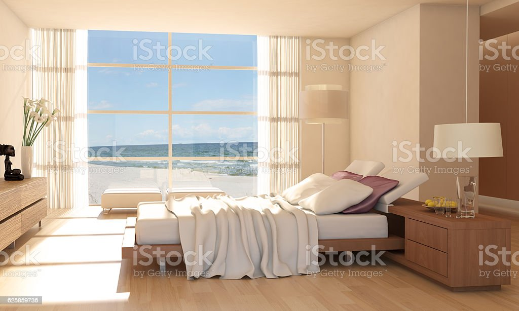 Minimalist Bedroom Interior With Sea View stock photo
