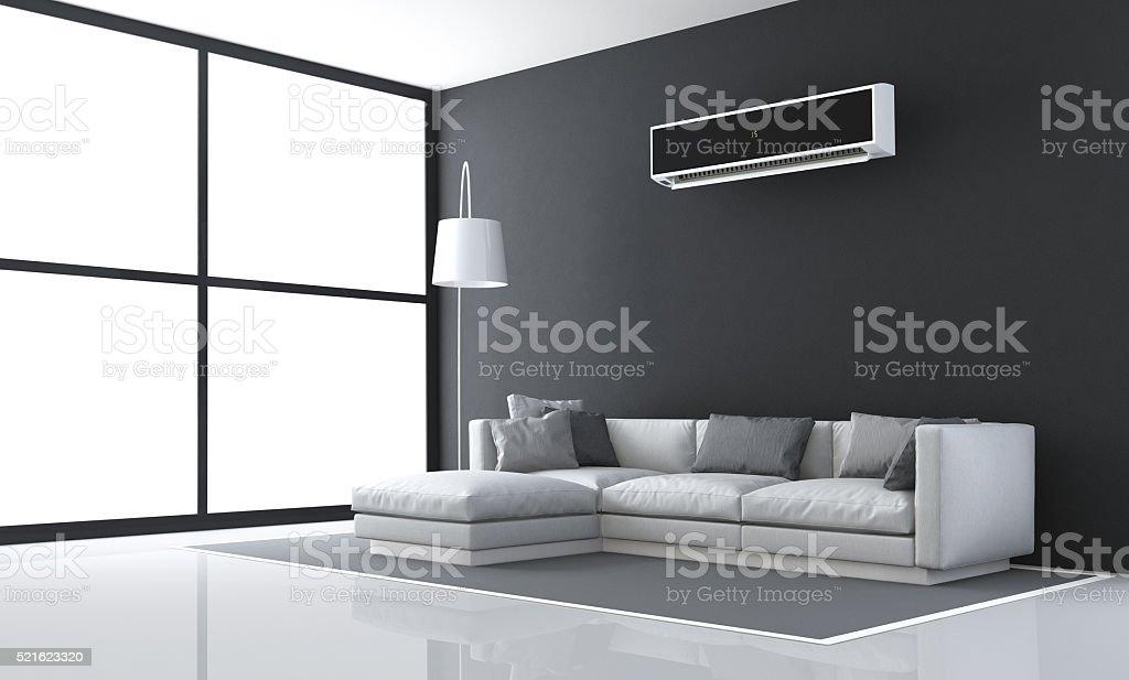 Minimalist black and white living room stock photo