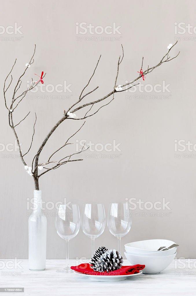 Minimalist christmas table setting decoration royalty-free stock photo