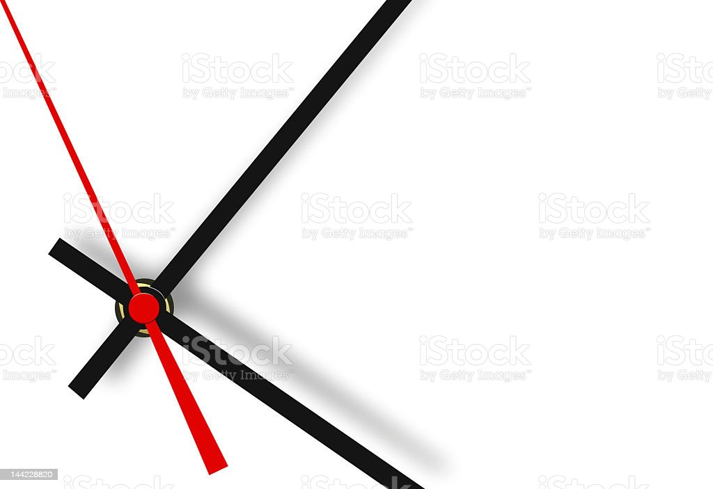 Minimalist clock hands on a white background royalty-free stock photo