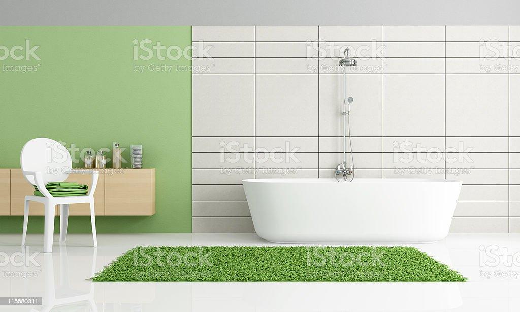 minimalist green and white bathroom royalty-free stock photo