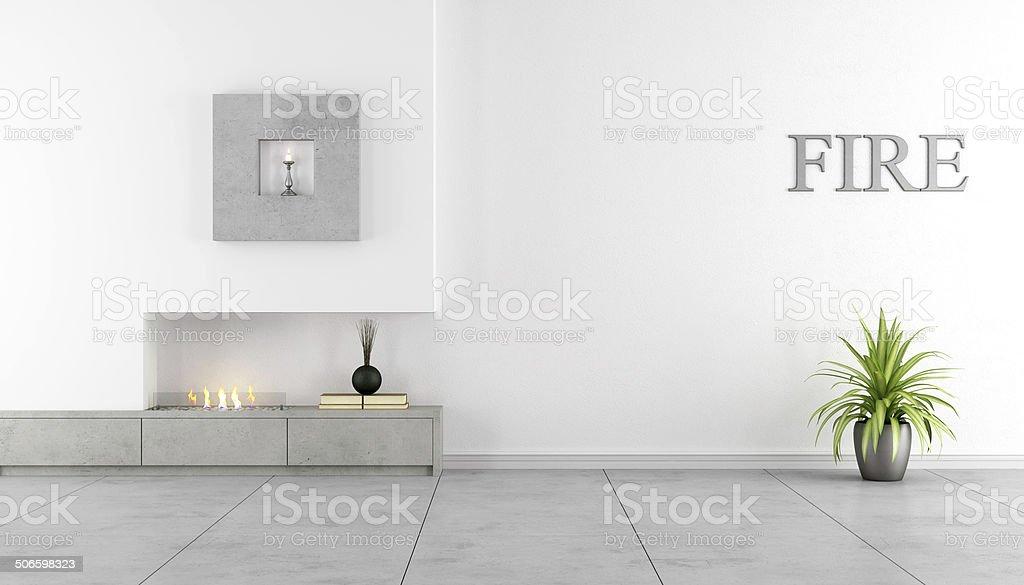 Minimalist interior with fireplace stock photo