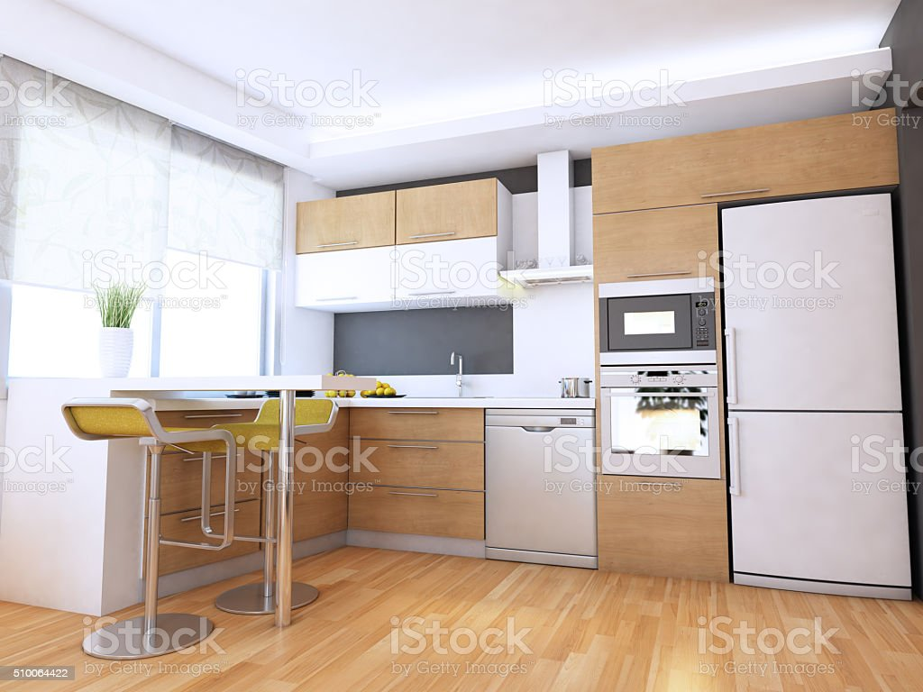 Minimalist Kitchen Interior Design stock photo