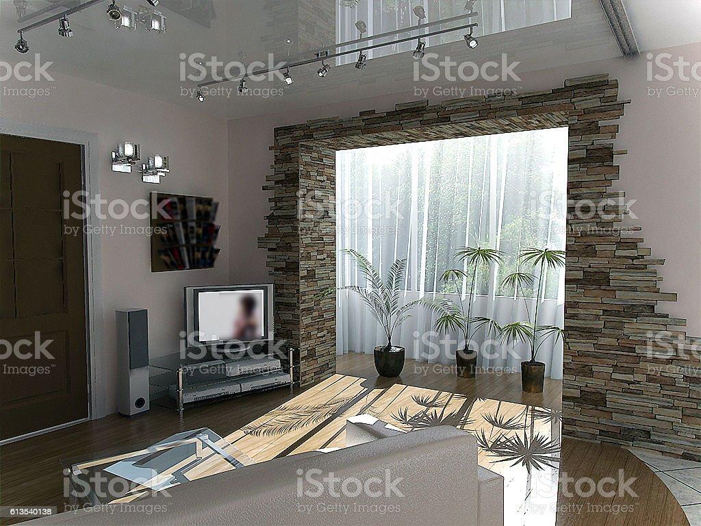 Minimalist living room ideas, 3d render stock photo