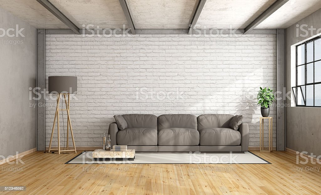 Minimalist loft interior stock photo