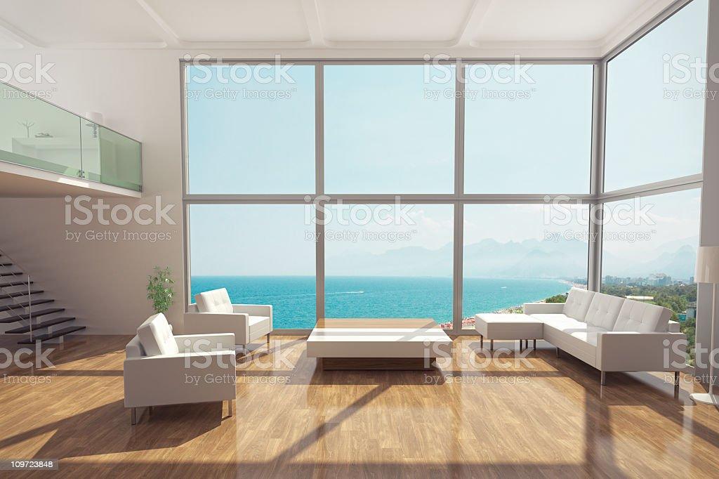 Minimalist Luxury Apartment Interior stock photo