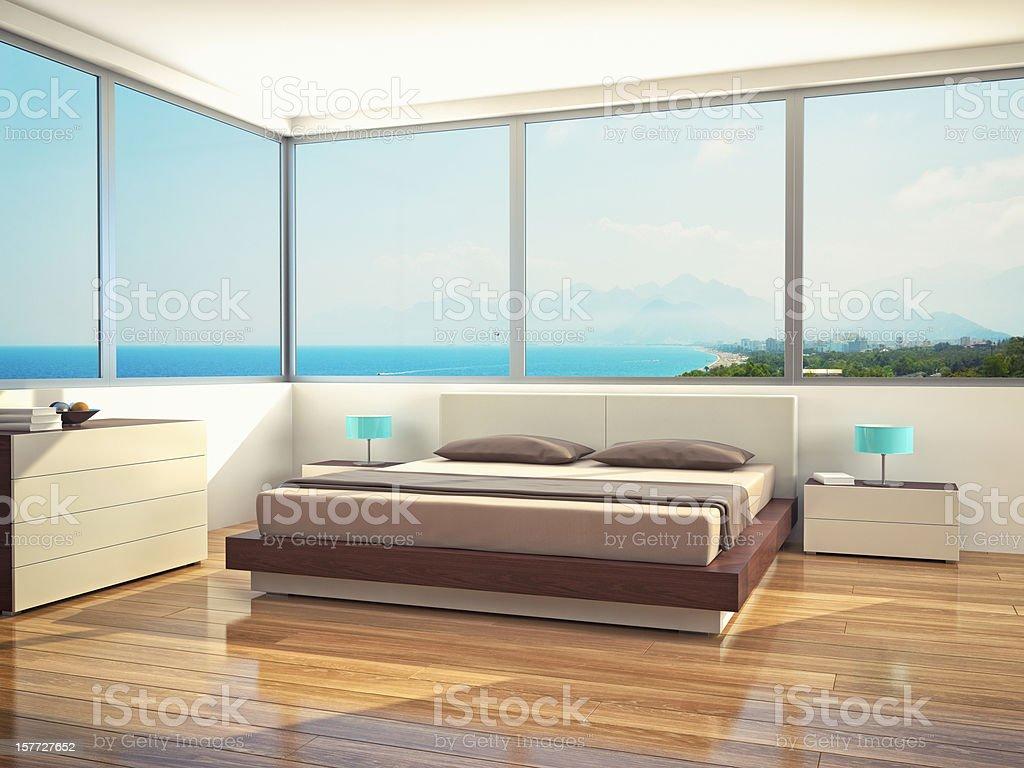 Minimalist Modern Bedroom stock photo