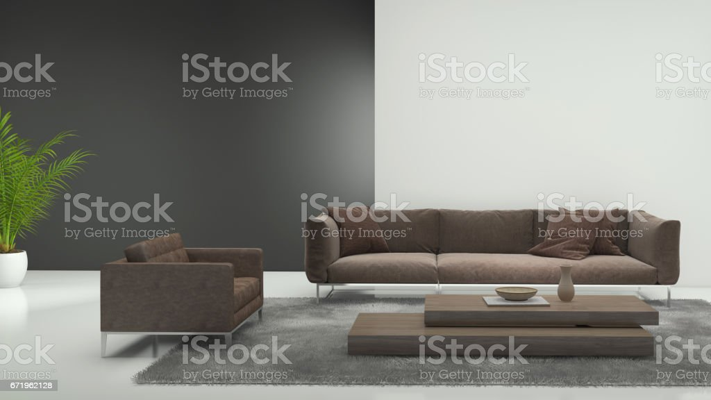 Minimalist modern interior living room stock photo