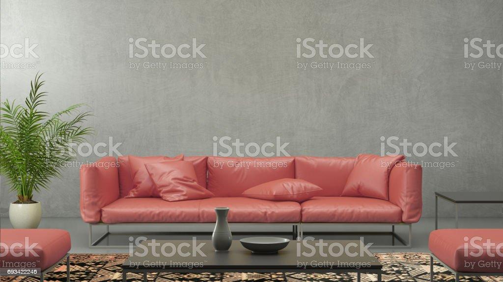 Minimalist modern interior living room with red sofa stock photo
